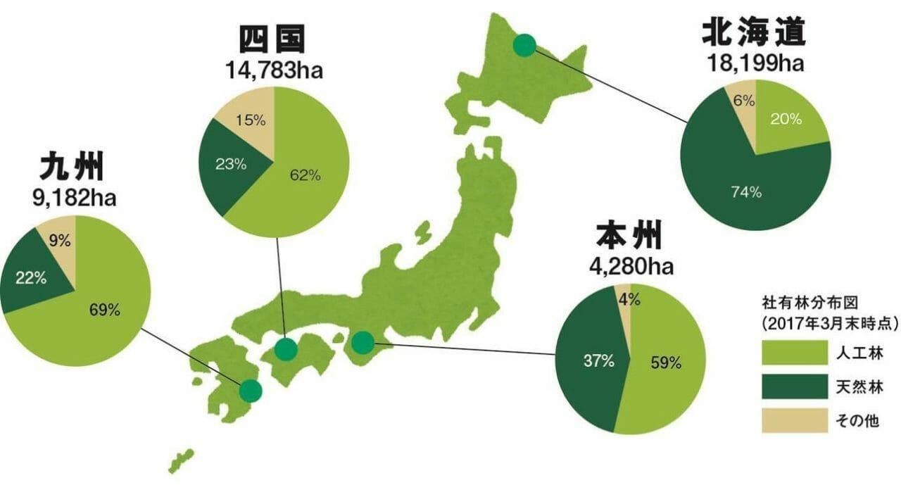 社有林分布図(2017年4月1日現在)